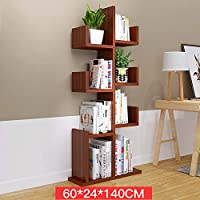 Ziligengsheng Home decoration rack floor-standing bookshelf living room storage shelf multicolor (Color : Teak color)