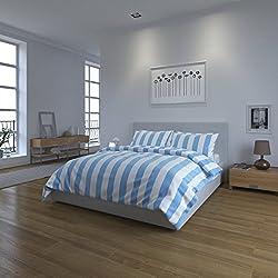 Juego de ropa de cama con diseño a rayas blancas y azules de la marca Weaver Bay, algodón poliéster, Blue/White, par de fundas de almohada