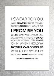 Bryan Adams-I 'll Always Be Right There-Funky Lyric Kunstdruck-A4Größe