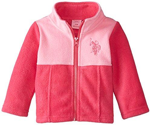 U.S. Polo Assn. Baby-Girls Mock Neck Color Block Polar Fleece Jacket, Fuchsia/Pink, 24 Months