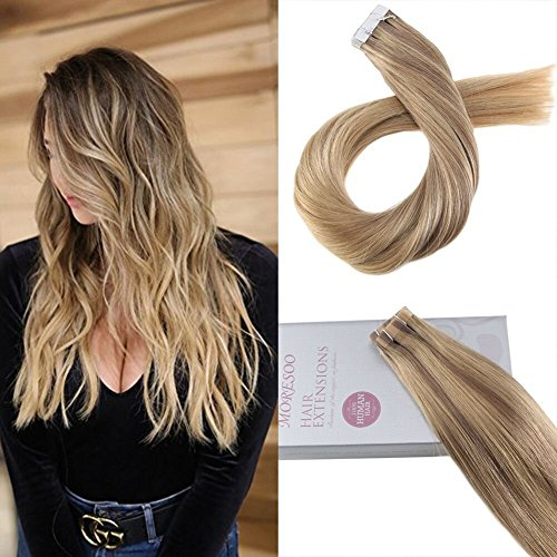 Moresoo 22zoll Tape in Balayage Human Hair Extensions Klebebände Haarverlangerung Echthaar #10 Fading to #16 Highlights with #16 Tape on Extensions zum Kleben Brasilianer Haar 20pcs/50gramm