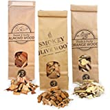 3x 500ml selección de virutas de madera para barbacoa & ahumar, olivo + haya, naranjo, almendro, Smokey Olive Wood