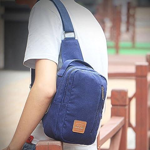 Koreanische Tide Pack, Brust Pack, Männer koreanischen Tide Pack, Schulranzen, Casual Canvas Bag, 25 cm * 10 cm * 16 Cm, Navy Blue