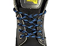 Strong Round Bootlaces 120cm Long For Steel Toe Cap Boots, Walking Boots, Hiking Boots, Work Boots, Dr Martens, Grafters Work Boots (Black & Blue)