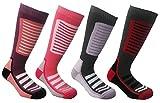 4Paar–High Performance Damen Ski Socken–Lange Schlauch Thermo-Socken