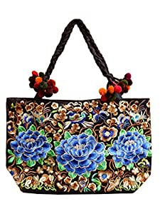 Ariyas Thaishop, Damenhandtasche aus Baumwolle, handbestickt mit traditionellem Hmong Blumen und Vogel Muster