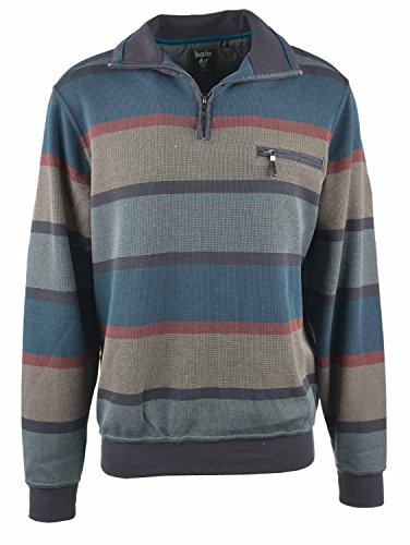 Sweat-Shirt Troyer blau beige Hajo 2XL