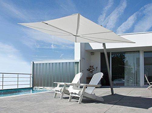 Parasol déporté - Spectra Carré [1parasol2.5x2.5m] Olefin Polyester 190g/m2 Mandarine Mât incliné (80°) Aluminium blanc