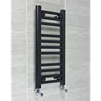 300mm larghezza nero Scalda Asciugamani da parete per scala per elegante bagno, Acciaio, 600mm High