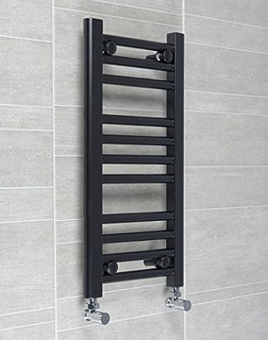 300mm Noir Largeur Radiateur sèche-serviettes plat élégant échelle pour salle de bain, Acier, 600mm High