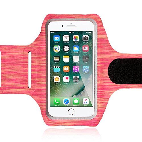 NALIA Fitness Armband Sport Handy-Tasche, Reflektierende Oberarmtasche zum Joggen, Wandern, Radfahren für Smartphones bis zu 5,5 Zoll z.B. iPhone, Samsung, HTC, Sony, Huawei UVM, Farbe:Hot Orange