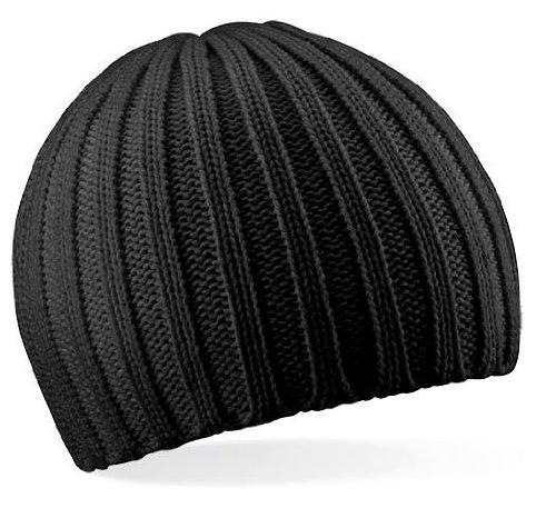 Beechfield Unisex Baseball Cap Chunky Knit Beanie, Schwarz, One size
