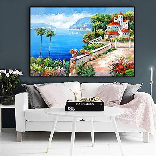 yhyxll Mittelmeer Garten Turm Grünpflanze Landschaft Ölgemälde auf Leinwand Kunst Poster und Drucke Wandbild für Wohnzimmer 40x60cm