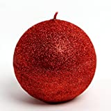 RAK Kerze Deko glizternde Kugelkerze Iris rot Ziegelrot glänzend 80