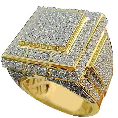 4375550c287f Angel3292 - Anillos grandes con diseño de hip hop cuadrado y lleno de  diamantes de imitación