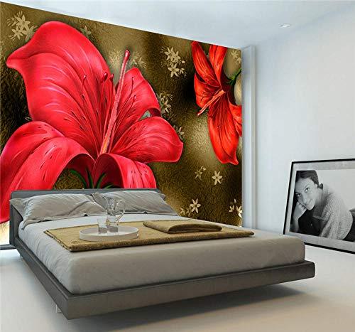 Fototapeten Vintage Rote Lilie Fototapete Luxus Riesen Wandbild Gemälde Tapete Schlafzimmer Dekor Kinder Sofa Einstellung Wandkunst Dekoration-350X250Cm,Wandbilder