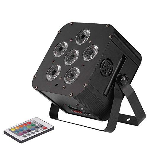 Docooler PAR Licht Build in Wireless-DMX-Empfänger/Akku, Stadiums-Lampe mit Fernbedienung Unterstützung Ton-Aktivierung, 108W LED RGBWAP 6/10 Kanal