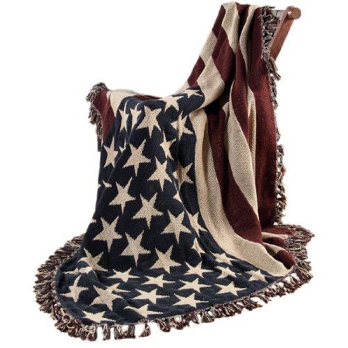 Manta sofa, bandera estadounidense 125 x 150 cm en puro Algodon