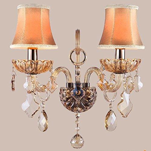 KYDJ Crystal Wall Lamp Salon escalier allée Simple Double abat-jour en tissu tête de chevet chambre à coucher lampe verre abat-jour en tissu fer bras tête de cuivre du châssis E14 ( Couleur : B )