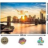 PMP-4life Póster para la pared con fotografía New York Skyline Brooklyn Bridge. En HD y tamaño XXL, 140 cm x 100 cm. Decoración para la pared en alta definición, fotopóster Cartel de la foto de Manhattan al atardecer downtown east river USA. Incluye otro póster de regalo