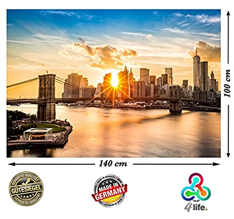 PMP-4life Wandbild New York Skyline Brooklyn Bridge HD XXL Poster 140cm x 100cm Hochauflösende Wanddekoration Bild für Wandgestaltung | Fotoposter Manhattan bei Sonnenuntergang downtown east river USA | + GRATIS