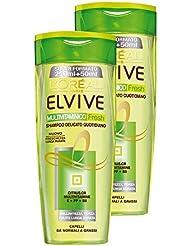 Elvive Multivitaminico Fresh Shampoo Delicato per Capelli da Normali a Grassi - 2 x 300 ml
