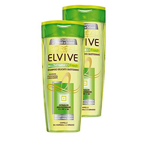 L'Oréal Paris Elvive Multivitaminico Fresh Shampoo Delicato per Capelli da Normali a Grassi, 2 x 300 ml