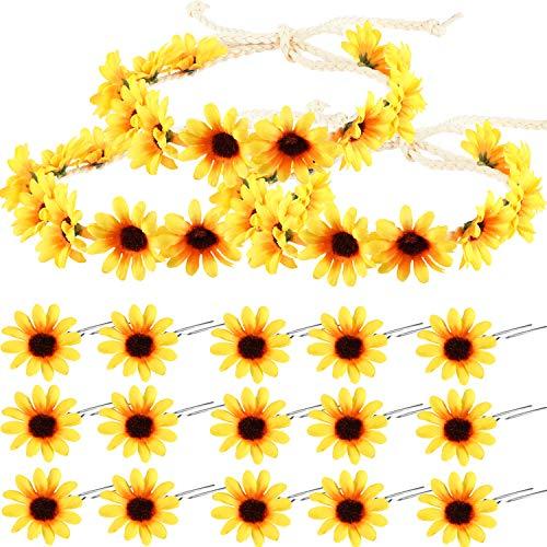 men Haarschmuck Gelbes Blumen Stirnband Set, Einschließlich 3 Stücke Sonnenblumen Stirnband Kranz, 15 Stücke Sonnenblumen Haarnadeln für Mädchen Täglich Tragen ()