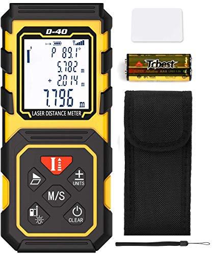 Tilswall Laser Entfernungsmesser, Distanzmesser 40m HD/±1 mm mit M/In/Ft, tragbares digitales Lasermessgerät mit elektrischer Wasserwaage und automatischer Berechnung, IP54 wasserdicht, ABS Gehäuse
