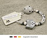 Baby SCHNULLERKETTE mit NAMEN   Schnullerhalter mit Wunschnamen - Mädchen & Jungen Motiv Fuchs in grau