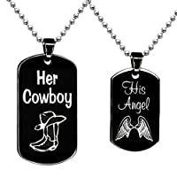 BFF Jewelry A Set Engraved her cowboy his angel Necklace Square Necklaces Black Dog Tag Pendant Boots and Wings