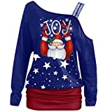 TEBAISE Pullover Damen Schulterfrei Weihnachtspullover Weihnachten Drucken Langarmshirts Off Shoulder Xmas Pullis Frauen Merry Christmas Lange Sweatshirts 2019 Winter Weihnachts Tops Bluse