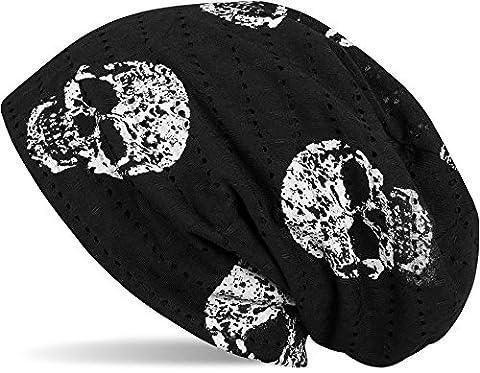 styleBREAKER Bonnet Beanie avec un motif de tête de mort style vintage détruit, Longbeanie slouch, unisexe 04024093, couleur:Noir