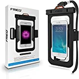 FRiEQ Universal Waterproof Case Bag with External Earphone/ Accessory Jack - Waterproof Armband Perfect for Boating / Kayaking / Rafting / Swimming - Waterproof bag / Waterproof Life Pouch / Dry Bag for Apple iPhone 6, 6 Plus, 5S, 5C, 5; Galaxy S6, S4, S3; HTC One X, Galaxy Note 3, Note 2; LG G2 - Protects your Cell Phone or MP3 Player from Water, Sand, Dust and Dirt - IPX8 Certified to 100 Feet