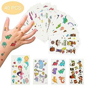 EKKONG Tatuaggi Temporanei per Bambini, 40 Fogli Tatuaggi Set de Unicorno e Dinosauro e Pirata e Sirena, Tatuaggi Finti per Ragazze Ragazzi, Tatuaggio Temporaneo per Feste di Compleanno 2 spesavip