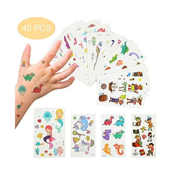 EKKONG Tatuaggi Temporanei per Bambini, 40 Fogli Tatuaggi Set de Unicorno e Dinosauro e Pirata e Sirena, Tatuaggi Finti… 1 spesavip