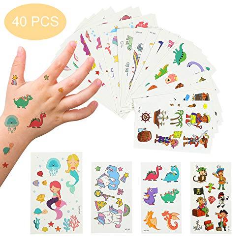 EKKONG Tatuaggi Temporanei per Bambini 40 Fogli Tatuaggi Set de Unicorno e Dinosauro e Pirata e Sirena Tatuaggi Finti per Ragazze Ragazzi Tatuaggio