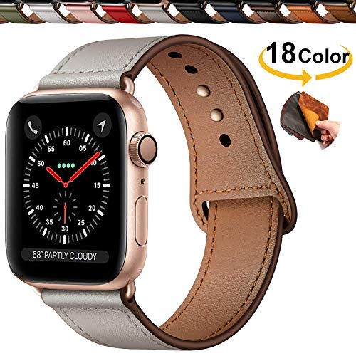 Chok Idea Innovative Schnalle Echtes Leder Uhrenarmbänder Compatible with Apple Watch Armband 40mm 38mm,Versteckt Buckle Minimalistisch Lederarmband Replacment for iWatch Series 4 3 2 1,Ivory White -