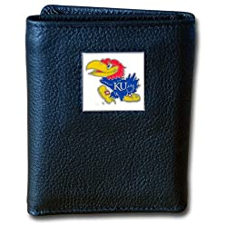 NCAA Kansas Jayhawks Deluxe Leather Tri-fold Wallet