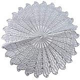 Yinew Hollow Flower Shape Tischset Runde rutschfeste Tischmatte Hitzebeständige Cup Coaster Bowl Matten, Silber