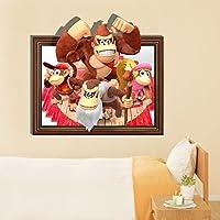 Bluelover Orangutan 3D famiglia parete decalcomanie bambino bambini camera Cartoon carta rimovibile adesivi regalo