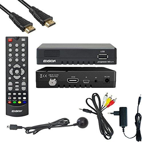Edision Progressiv compact nano Plus Full HD Sat Receiver (DVB-S2 Tuner, HDMI, 1x USB 2.0, WLAN, Conax Kartenleser) Astra 19,2 vorpr. inkl. HDMI Kabel