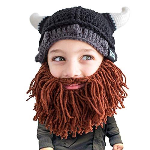 Beard Head Kinder Wikingerhelm Bartmütze - Lustige Strickmütze und falscher Bart für Kinder