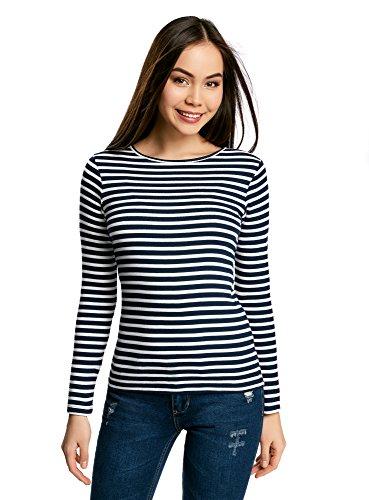 oodji Ultra Damen Langarm- Gestreiftes T-Shirt, Blau, DE 34 / EU 36 / XS