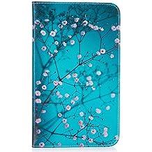 """KATUMO® Funda Samsung Tab A6 7,0"""", Funda de Piel para Tablet Samsung Galaxy Tab A6 7 pulgadas(T280)Carcasa Cuero Funda Rigida Flip Case Cover [Resistente a los Arañazos]-#3Flor Azul"""