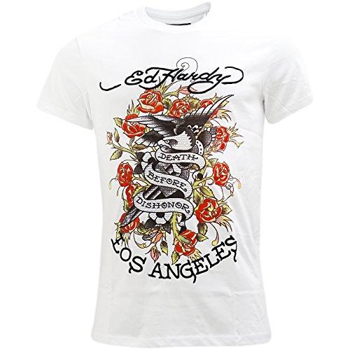 Ed Hardy Herren T-Shirt, Einfarbig Weiß Weiß Gr. L, - Ed Hardy T-shirt