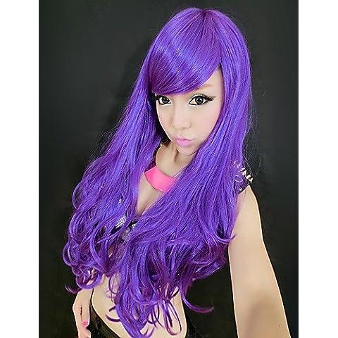 BBDM Magia Viola Side Bang sintetica lunga parrucca riccia