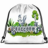 ANGLAOU Raccoon Playing Together Garden Animals Wildlife Advertise Drawstring Bag Backpack Gym Dance Bag Reversible Flip Sequin Bling Backpack for Hiking Beach Travel Bags
