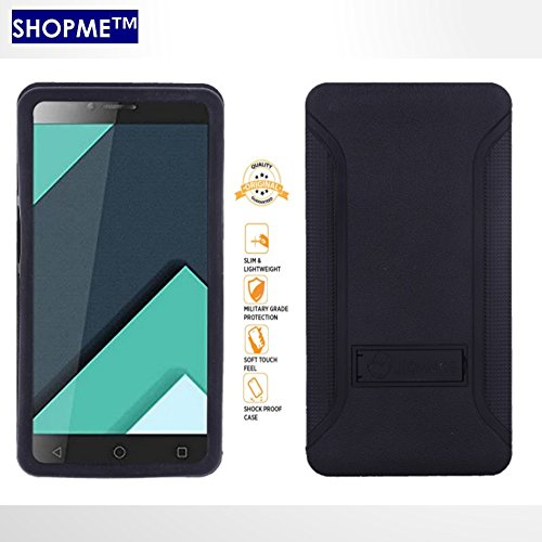 Shopme Back Cover, Protective cover, Slider Stand Style Premium (Black Color) for Micromax Canvas Juice 2 (Soft Silicon+Plastic Material, Kickstand, Movie watching,Web Surfing on any Surface, Anti Skid Design, Slider for Taking Photos)  available at amazon for Rs.219