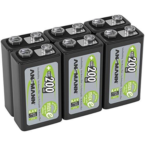 ANSMANN Akku 9V Block 200mAh NiMH 6 Stück mit geringer Selbstentladung - Wiederaufladbare Batterien maxE mit hoher Kapazität - 9 Volt Batterie für Messgerät Multimeter Spielzeug Fernbedienung uvm.